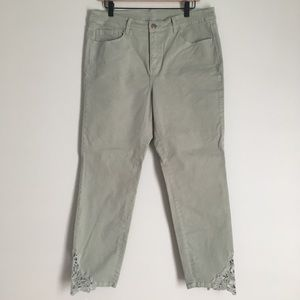 SOFT SURROUNDINGS green embroidered pants